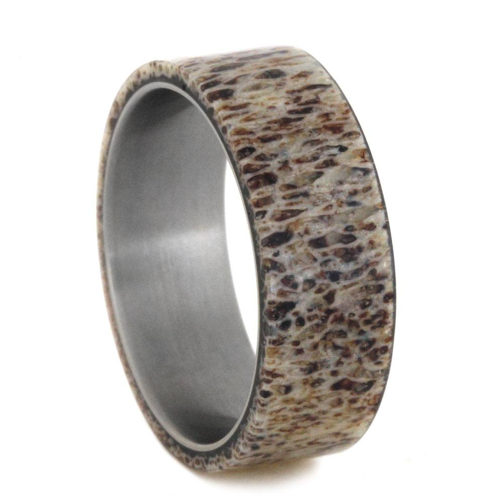Matte Titanium Men's Wedding Band With Deer Antler Overlay-2872 - Jewelry by Johan