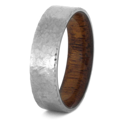 Hammered Titanium Wedding Band With A Mahogany Wood Sleeve-3435 - Jewelry by Johan