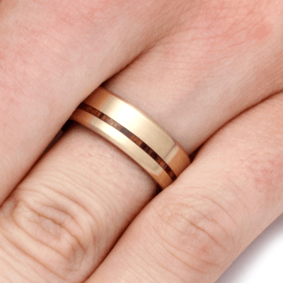 Yellow Gold Ring With Bocote Wood (5)