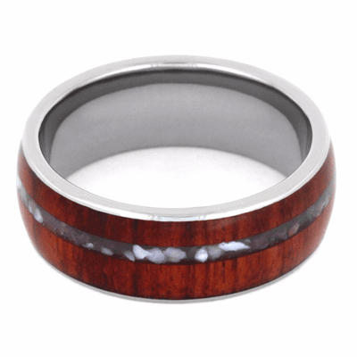 Titanium Ring with Mother of Pearl and Wood Inlays (4)