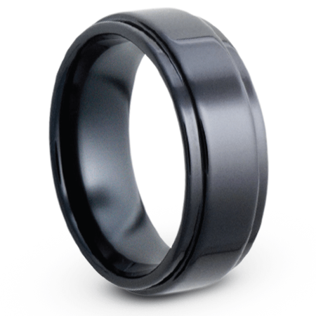 Mens Wedding Band in Black Ceramic, Grooved Edges-JIRMCA004579 - Jewelry by Johan