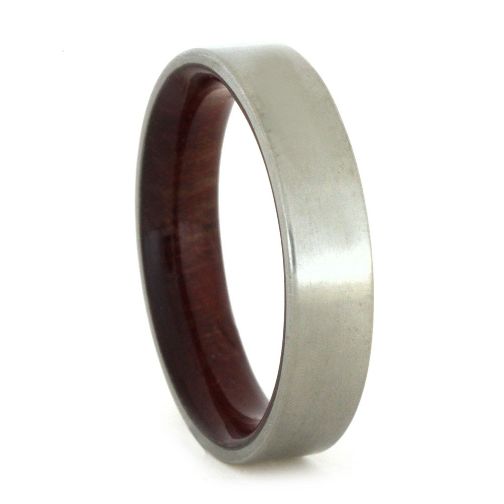Thin Matte Titanium Wedding Band With Wood Sleeve, Size 8.75-RS8638 - Jewelry by Johan