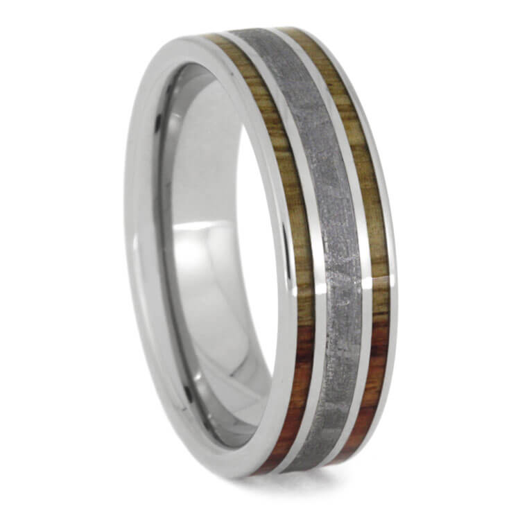 Meteorite Wedding Band With Tulipwood Edges, Size 9-RS9932 - Jewelry by Johan