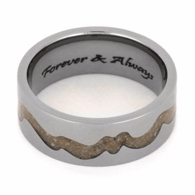 Engraved Titanium Pet Memorial Ring with Ashes (4)