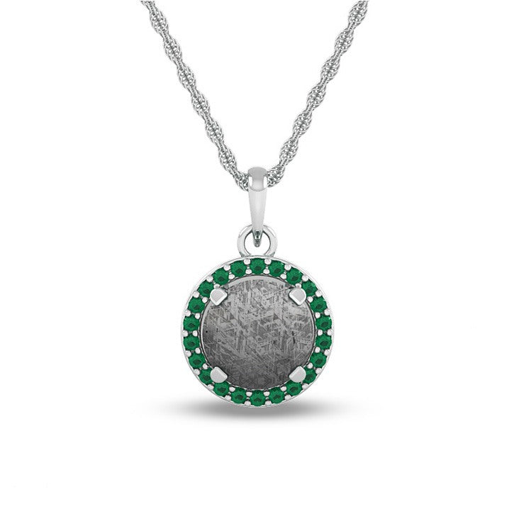 May Birthstone Pendant With Meteorite And Emerald On 14k White Gold Necklace-1681 - Jewelry by Johan