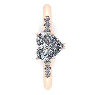 Heart Engagement Ring, White Sapphire Ring in 14k Rose Gold-3382 - Jewelry by Johan