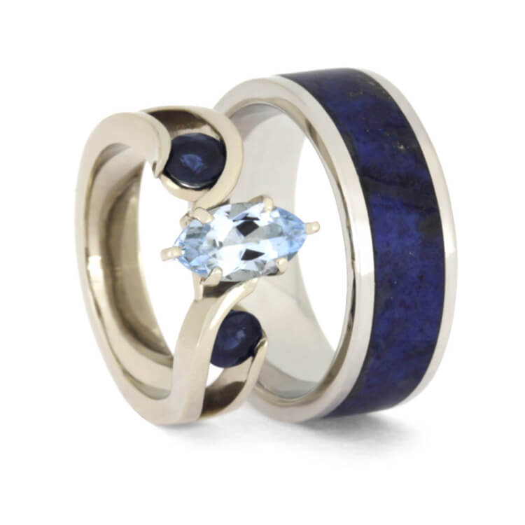 Blue Wedding Ring Set, Aquamarine Engagement Ring With Men's Lapis Band-2523