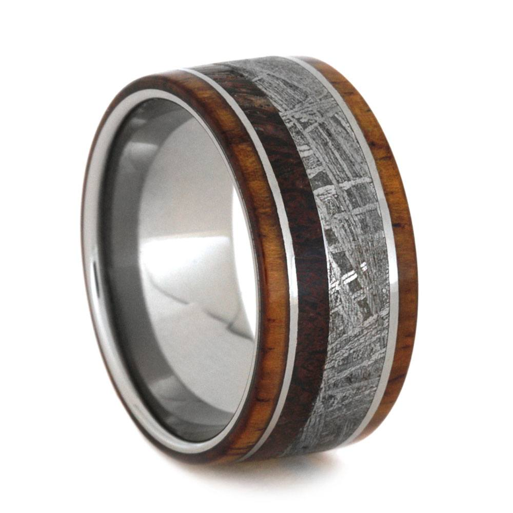 Honduran Rosewood Ring with Meteorite and Dinosaur Bone on Titanium-3401 - Jewelry by Johan