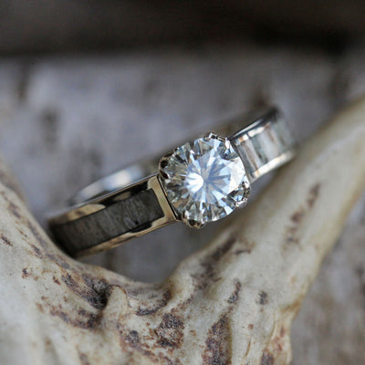 Moissanite Engagement Ring With Deer Antler In White Gold-3571 - Jewelry by Johan