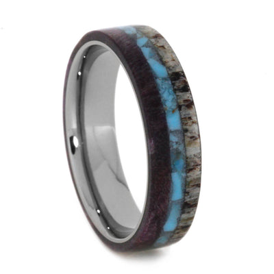 Women's Antler Wedding Band With Crushed Turquoise and Wood-2529