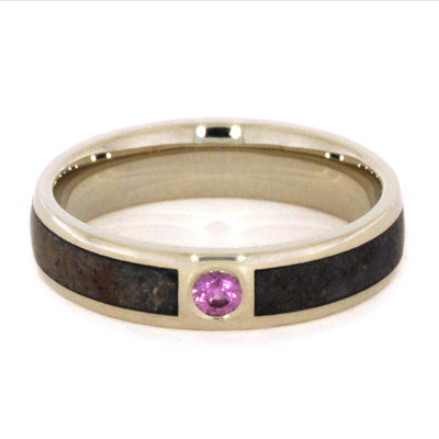 Pink Sapphire Ring With Fossil Inlay