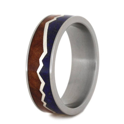 titanium ring with redwood and lapis lazuli