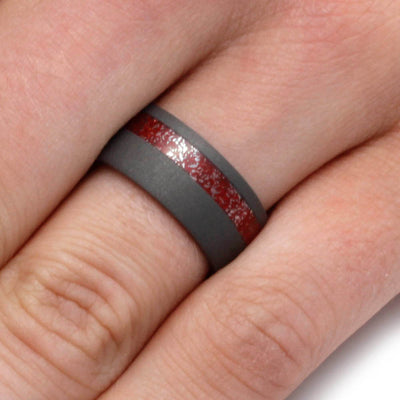 Meteorite Ring With Red Enamel