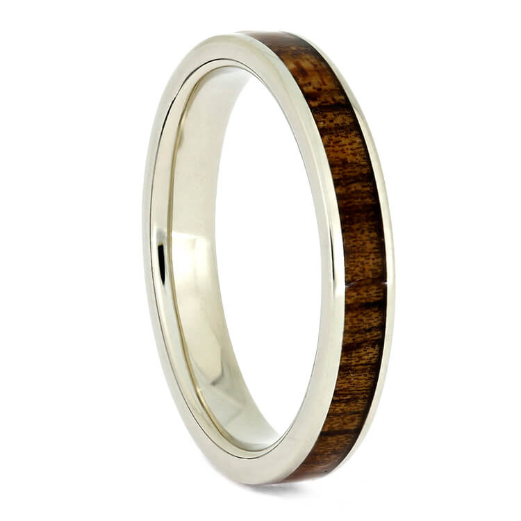 Koa Wood Wedding Band, 14k White Gold Ring-2726