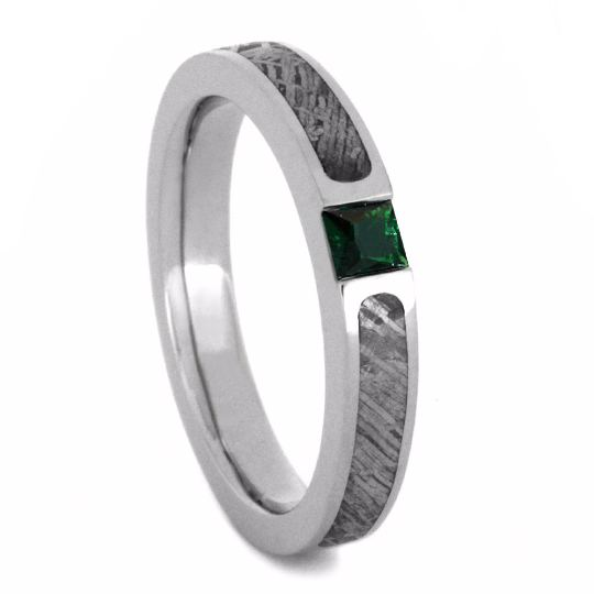 Meteorite Engagement Ring with Green Emerald in White Gold-2856 - Jewelry by Johan