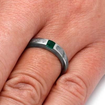 Meteorite Engagement Ring with Green Emerald in 10k White Gold