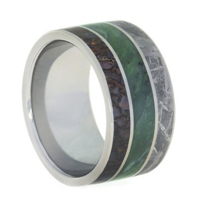 Green Jade Ring with Meteorite and Dinosaur Bone in Titanium