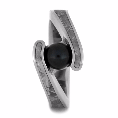 Black Akoya Pearl Engagement Ring With Meteorite-2180 - Jewelry by Johan