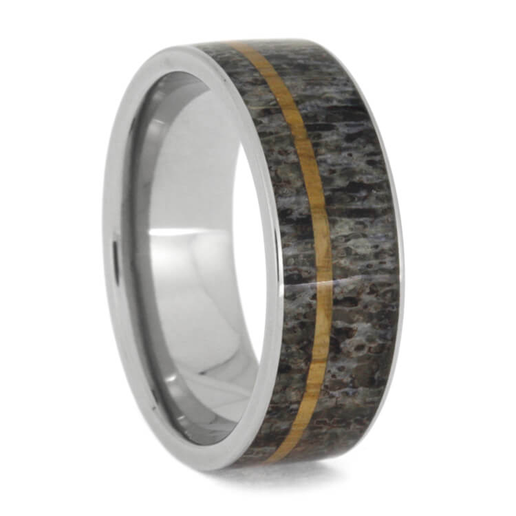 Deer Antler Ring With Oak Wood Pinstripe In Titanium, Size 10-RS9861 - Jewelry by Johan