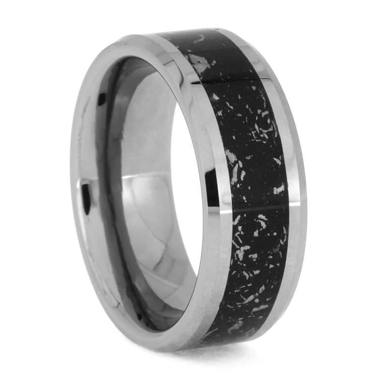 Black Stardust Ring With Beveled Tungsten