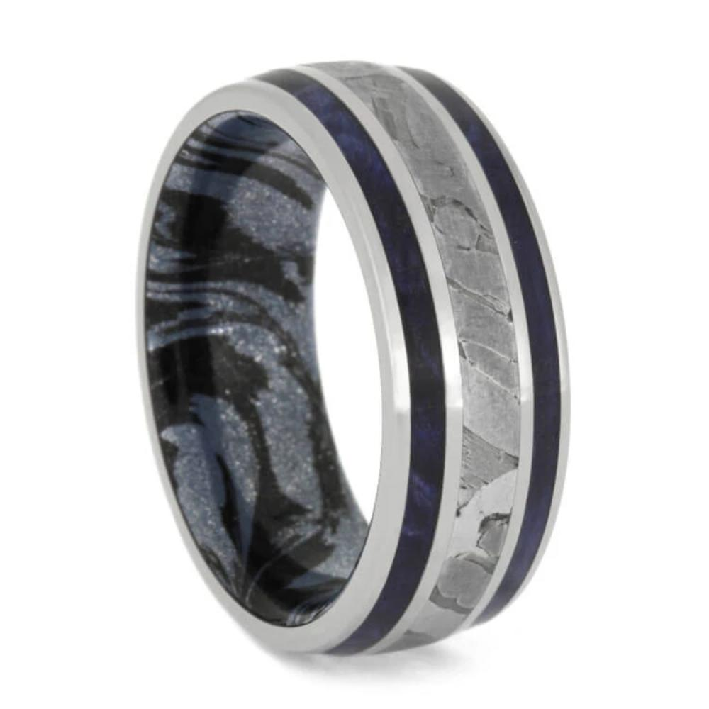Seymchan Meteorite And Mokume Ring, Titanium Band With Blue Box Elder Burl-2692 - Jewelry by Johan