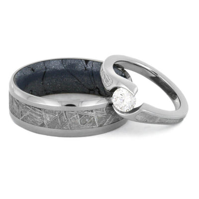 Diamond Meteorite Wedding Ring Set, Twist Engagement Ring With Mokume Wedding Band-2277 - Jewelry by Johan