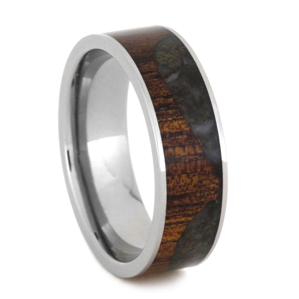 Crushed Dinosaur Bone Wedding Band With Koa Wood Wave-2955 - Jewelry by Johan