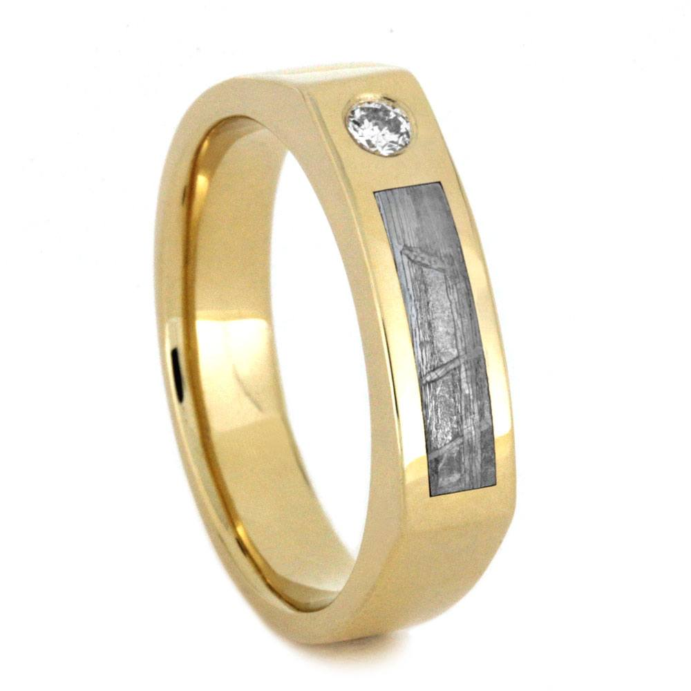 Diamond Men's Wedding Band in Yellow Gold With Meteorite-3200 - Jewelry by Johan