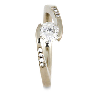 Tension Set Moissanite Engagement Ring, Twist Design-3567 - Jewelry by Johan