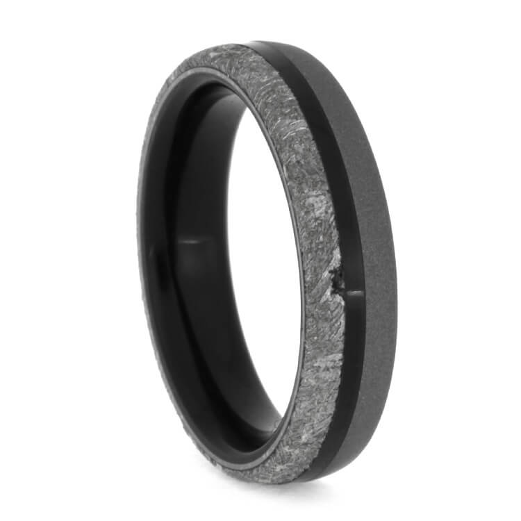 African Blackwood Bands: African Blackwood Ring With Gibeon Meteorite, Size 7.25