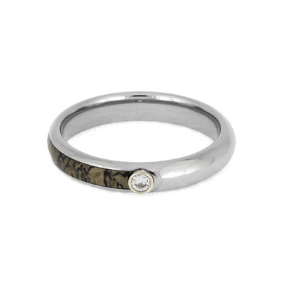 Dinosaur Bone Women's Wedding Band With Bezel Set Gemstone-2644 - Jewelry by Johan