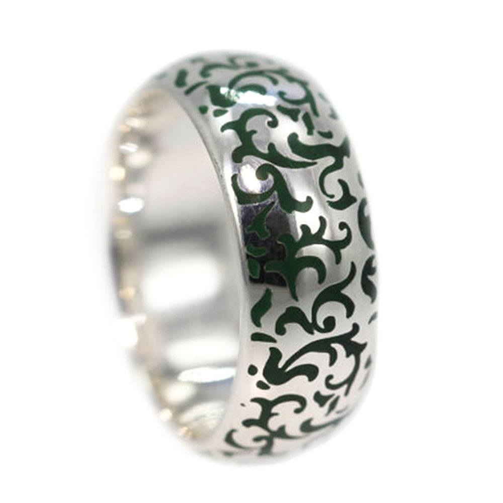 Green Enamel Ring with Art Nouveau Design in White Gold-3177 - Jewelry by Johan