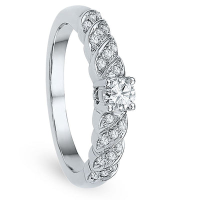 Diamond Fashion Engagement Ring in Sterling Silver