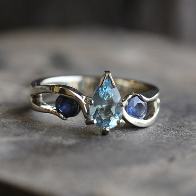 Pear Aquamarine Engagement Ring With Blue Sapphires, Meteorite Ring-3561 - Jewelry by Johan