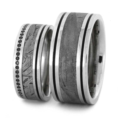 Platinum Meteorite Wedding Band Set
