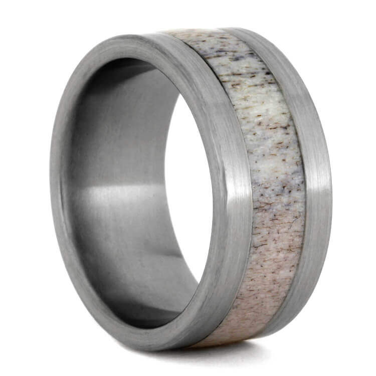 Brushed Titanium Ring With Deer Antler, Size 8.5-RS9405 - Jewelry by Johan