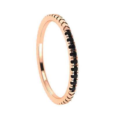 Grooved 14k Rose Gold Wedding Band with Black Diamonds-3121