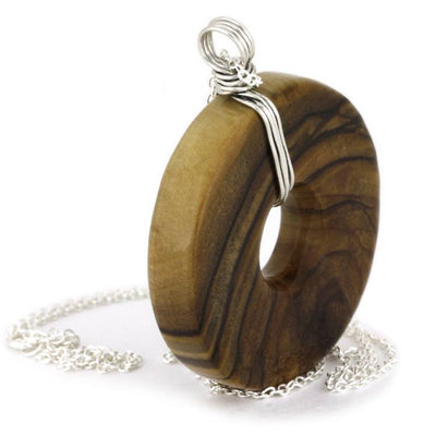 Wood Pendant on a Sterling Silver Chain Necklace, Olive Wood-1815 - Jewelry by Johan