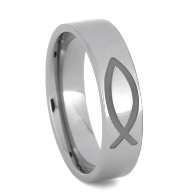 Titanium Ring with Trinity, Infinity, and Jesus Fish Symbols, Size 10.5-RS9028 - Jewelry by Johan