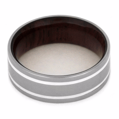 titanium wedding band with wooden sleeve showing