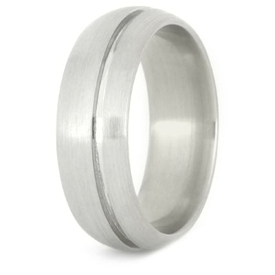 White Gold Wedding Band with groove