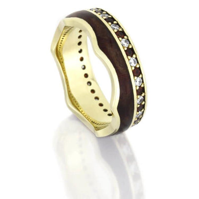 Crown Ring, Gemstone Eternity Wedding Band With Wood Inlay In Yellow Gold-DJ1020YG - Jewelry by Johan