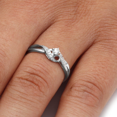 Sterling Silver Diamond Engagement Ring On a Hand