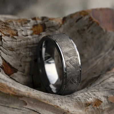 Tungsten Wedding Band with Gibeon Meteorite Inlay-1653 - Jewelry by Johan