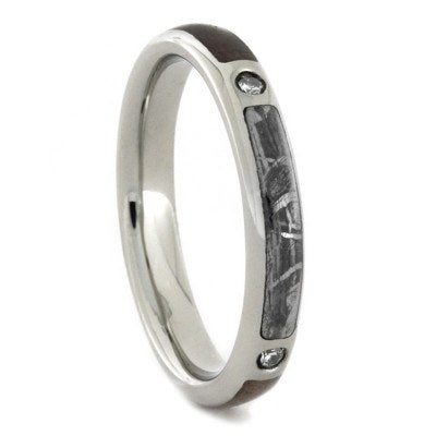 Womens Wedding Band Diamond White Gold Ring with Wood and Meteorite-1723 - Jewelry by Johan