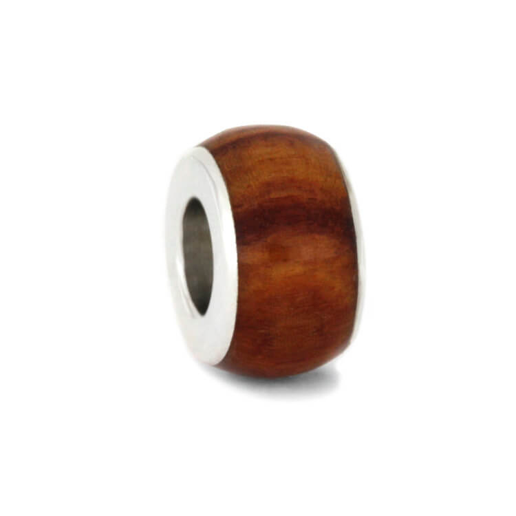 Tulipwood Charm Bead in Sterling Silver
