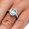Swiss Blue Topaz Engagement Ring With Diamond Halo In White Gold-2084 - Jewelry by Johan