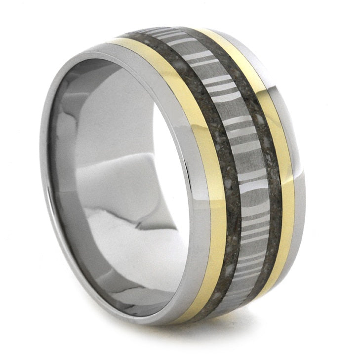 Memorial Ring With Gold Pinstripes Damascus Steel-1898 - Jewelry by Johan