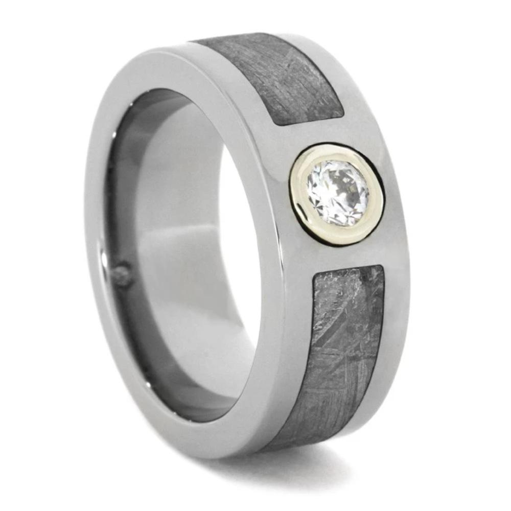 White Gold Bezel Set Diamond Ring with Meteorite in Titanium-1746 - Jewelry by Johan