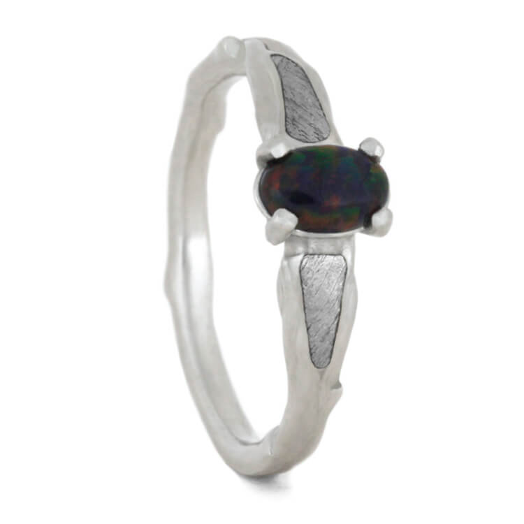 Platinum Engagement Ring With Black Opal, Size 6-RS10451 - Jewelry by Johan